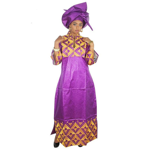 African Women Embroidered Bazin Riche Brocade Long Dress With X21144