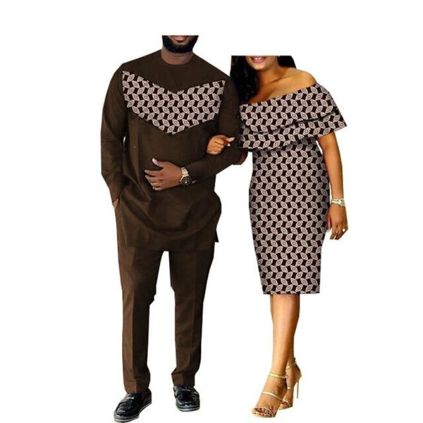 African Clothing Matching Style Dashiki Patchwork Woman Dress Man V11682
