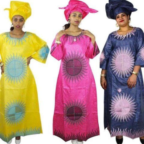 African Clothing For Women Bazin Riche Embroidery Kaftan Style Dress with X21240