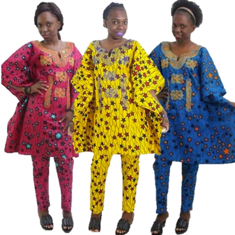 Women Dashiki Wax Print Yellow Pink Blue Top-Pants Set With Embroidery X20659