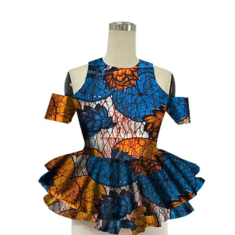Brw 2017 African Women Shirt Fashion Strapless Tops Flower Puff Hem Designs Womens Shirts Women African Clothing Wy13922 - 12 / Xl