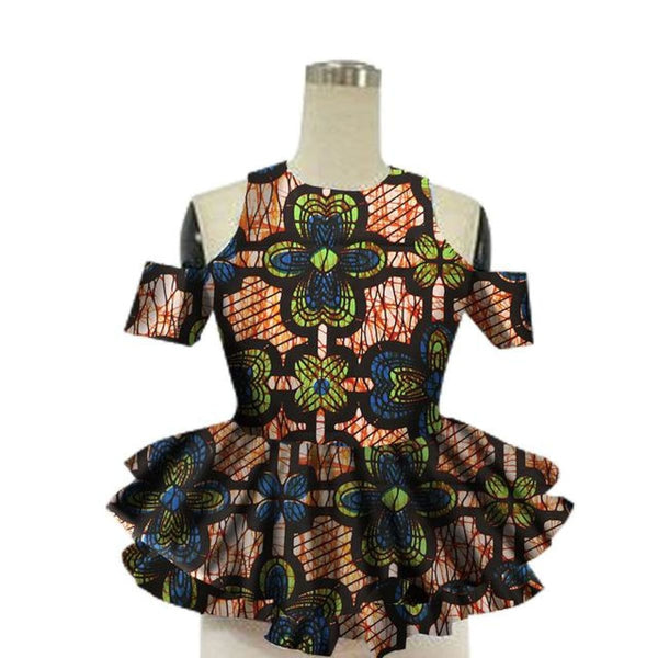 Brw 2017 African Women Shirt Fashion Strapless Tops Flower Puff Hem Designs Womens Shirts Women African Clothing Wy13922 - 9 / Xl