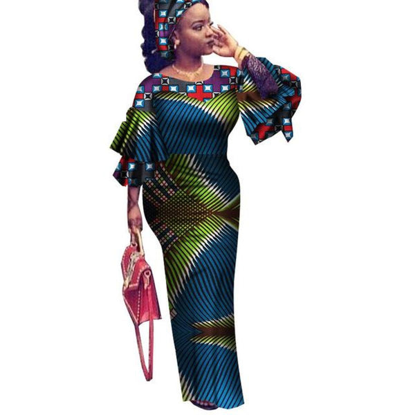 Brw African Dress For Women Summer Vintage Maxi Long-Party-Dress Dashiki Embroidery African Riche Bazin Femme Plus Size Wy2561