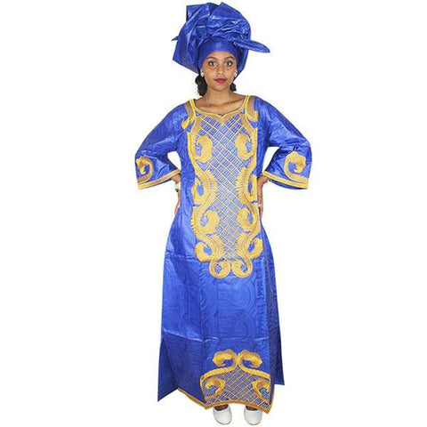 Dashiki African Dresses For Women Bazin Embroidery Design Dress Long With Scarff Blue / L
