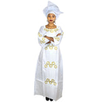 Dashiki African Dresses For Women Bazin Riche Embroidery Design Long Dress With Scarf