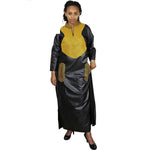 Dashiki Dress African Dresses For Women Silk Embroidery Design Long Without Scarf Black / L