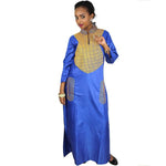 Dashiki Dress African Dresses For Women Silk Embroidery Design Long Without Scarf Blue / L