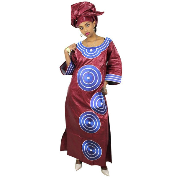 Dashiki Dresses African For Women Bazin Riche Embroidery Design Dress Long With Scarf Two Pcs One