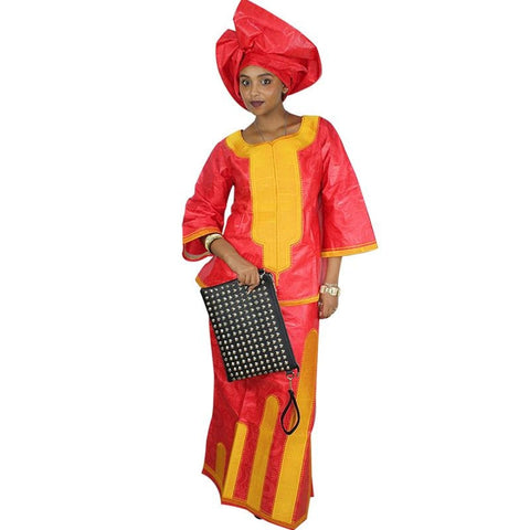 Dresses African Bazin Riche Dress Short Rapper With Scarf Dp221#