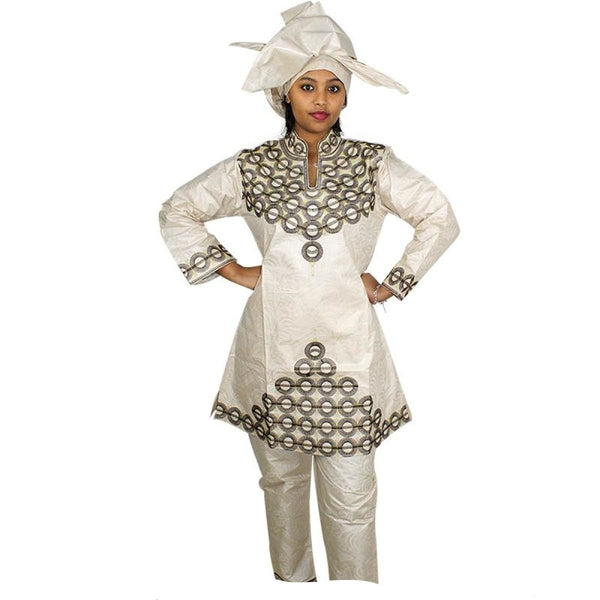 Free Shipping New African Bazin Embroidery Design Dresses Top With Pants Clothes Dp107#