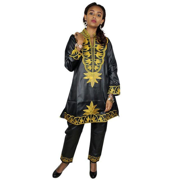 Free Shipping New African Bazin Embroidery Design Dresses Top With Pants Clothes Dp80# Black / L