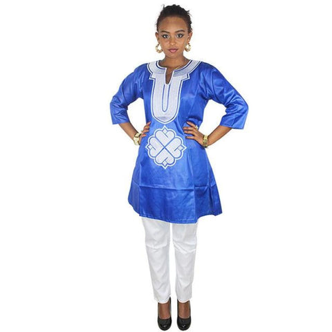 Free Shipping New African Bazin Embroidery Design Dresses Top With Pants African Clothes Lb040# - Blue / L