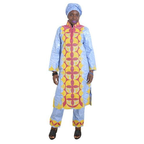 H&d 2017 African Dresses For Women Clothes 100% Cotton Bazin Embroidery Scarfs Headwraps Tops Pants Suits Dashiki Dress For Lady - Blue / L