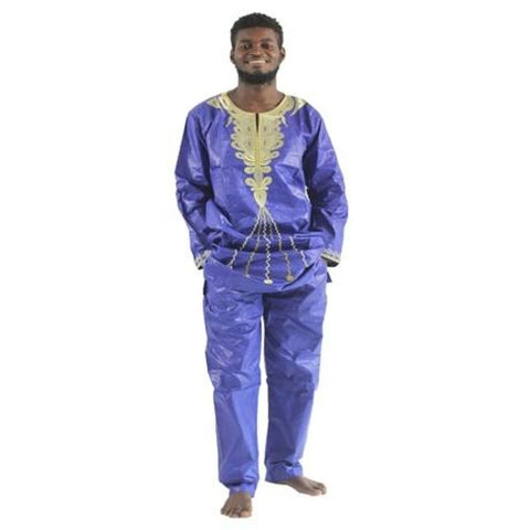 H&d 2017 Traditional African Mens Clothing New Fashion Design Bazin Riche Long Sleeves Long Pants Embroidery Print Afrikaanse - Blue / Xl