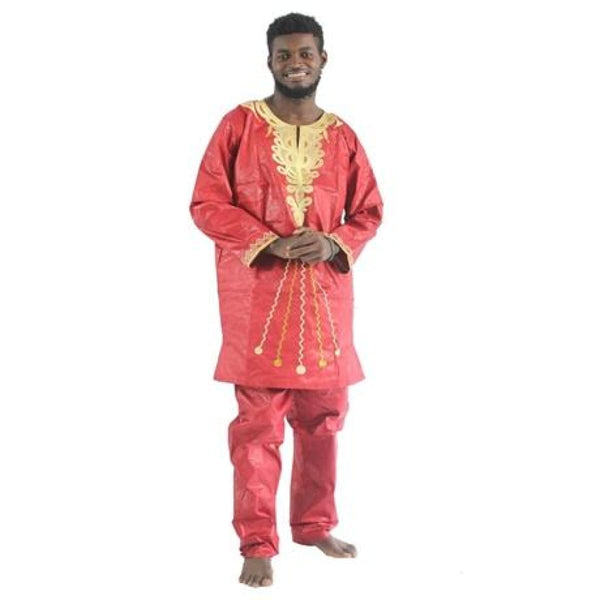 H&d 2017 Traditional African Mens Clothing New Fashion Design Bazin Riche Long Sleeves Long Pants Embroidery Print Afrikaanse - Red / M