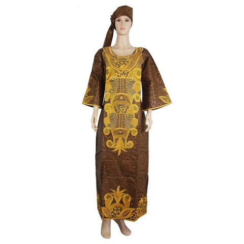 H&d 2018 African Dashiki Clothes Embroidery Africaine Rope Cotton 100% Africa Clothing For Women Bazin Riche Dress Head Wraps - Brown / L