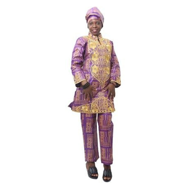 H&d 2018 African Women Bazin Riche Clothing Print Embroidery Traditional Ladies Tops Pant Set For
