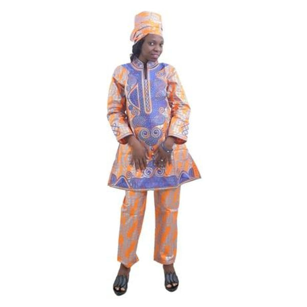 H&d 2018 New African Bazin Rich Traditional Embroidery Suits Dashiki African Dresses For Women Tops Trousers 3 Three-Piece Set - Orange / M