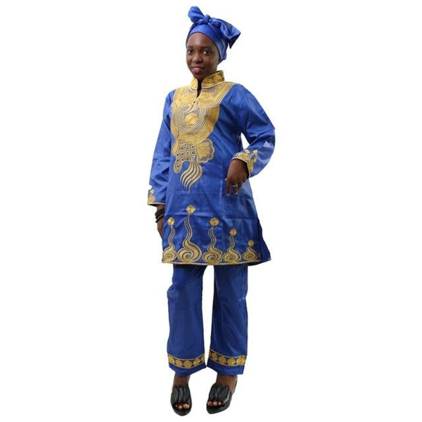 H&d African Bazin Riche For Women Clothing 2017 Embroidery Decoration Long Pants Headscarf Vetement