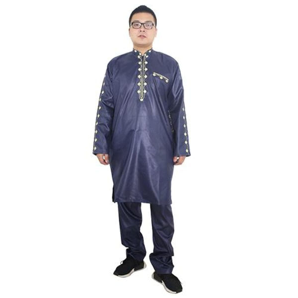 H&d African Dresses For Men Dashiki Mens African Clothing Bazin Outfit Male Tops Pant Suits 2 Pcs Long Sleeves Shirt Plus Size - Black / Xl