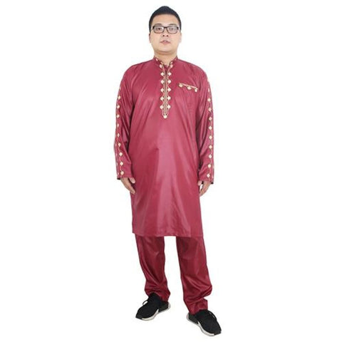 H&d African Dresses For Men Dashiki Mens African Clothing Bazin Outfit Male Tops Pant Suits 2 Pcs Long Sleeves Shirt Plus Size - Red / Xl