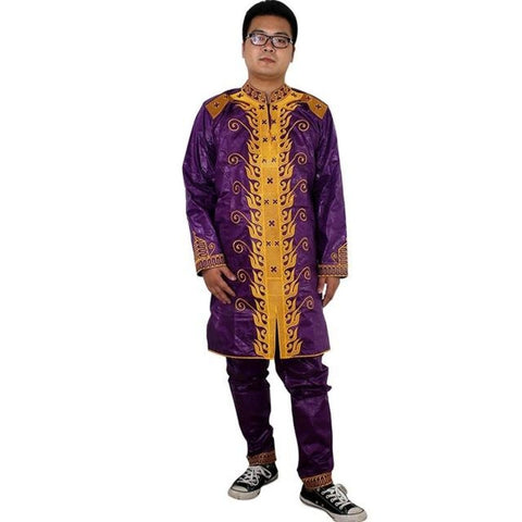 H&d African Men Clothing Mens Traditional Clothes Material Robe Bazin Riche Africano De Bordado Hombres Outfit Set Tops Pant - Purple / L