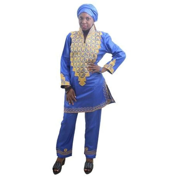 H&d African Women Dress With Pants Short Rapper With Scarf African Lady Tops Pant Sets Three Pcs One Set Traditional Embroidery - Blue / Xl