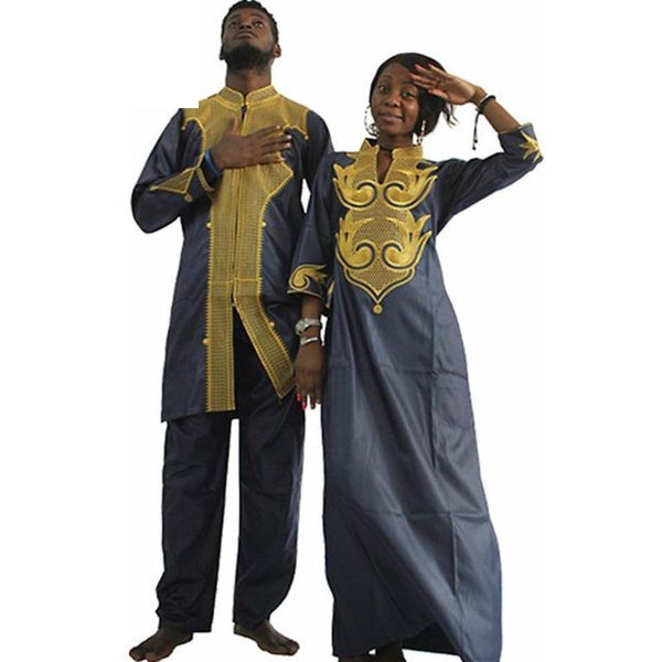 H&d Dashiki African Couple Dress Clothing For Men And Women Friends Get Married Bazin Traditional