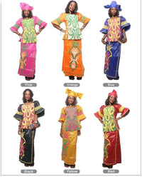 H&d (Free Shipping)African Bazin Dress For Women Embroidered Cotton Tops Skirts Summer Models M2287