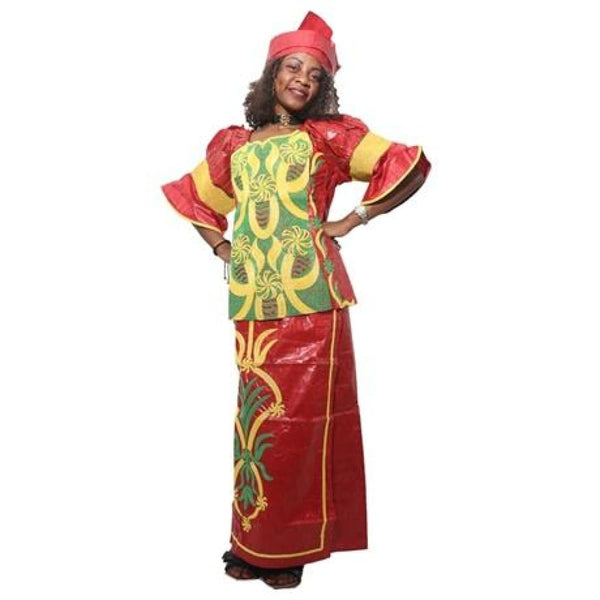 H&d (Free Shipping)African Bazin Dress For Women Embroidered Cotton Tops Skirts Summer Models M2287 - Red / Xl