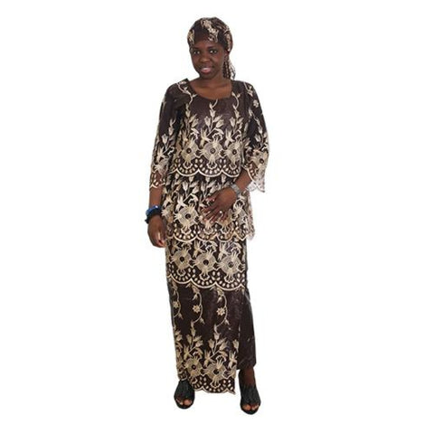 African Cloth For Women Ebroidery Beading Lace Bazin Riche Dress Blouse Skirt Sc