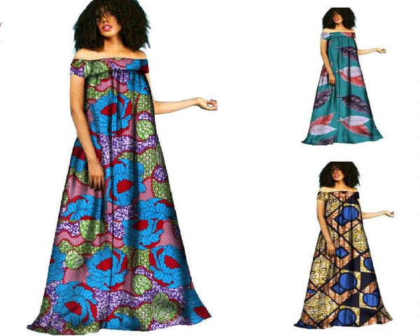 African Clothing Dashiki Bazin Riche Maxi Dress Boho R X11426