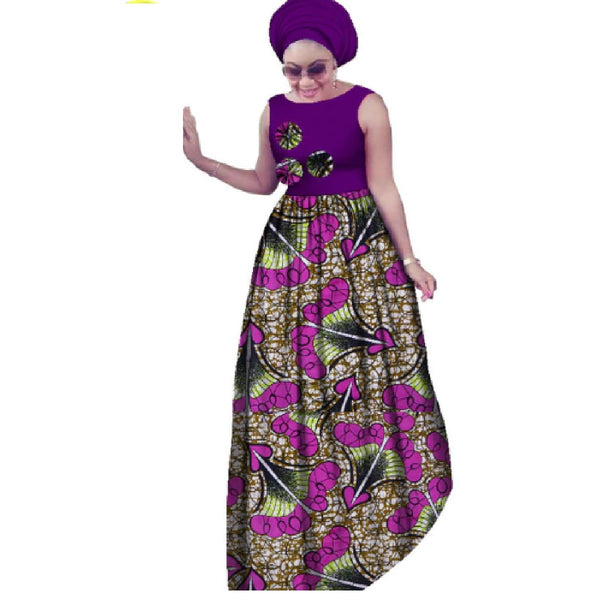 African Style Sleeveless Sexy Long Dress For Women Cotton Print Kitenge X11421