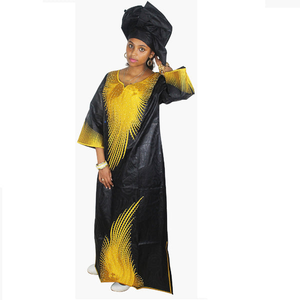 Dashiki Dress African Bazin Riche Embroidery Design Dress Long Dress With Scarff - Black With Red / L