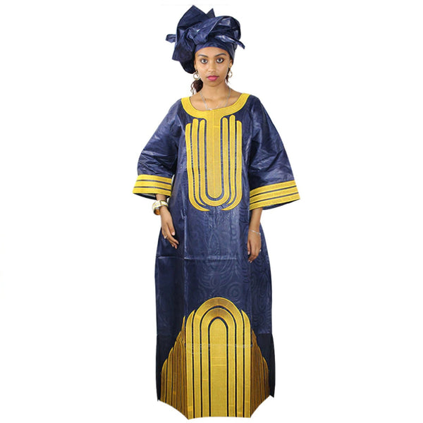 African Traditional Design Bazin Riche Material Embroidery Long Dress With Scarf