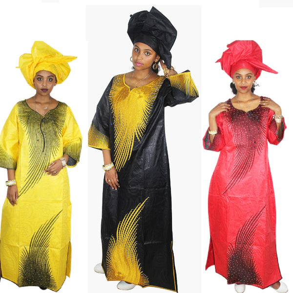 Dashiki Dress African Bazin Riche Clothig Embroidery Design Long Dress X21204