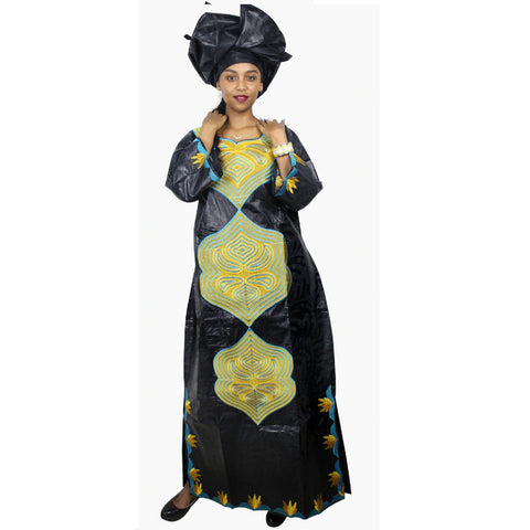 African Dresses Bazin Riche Embroidery Design Cloth with Scarf Two Pcs X21210