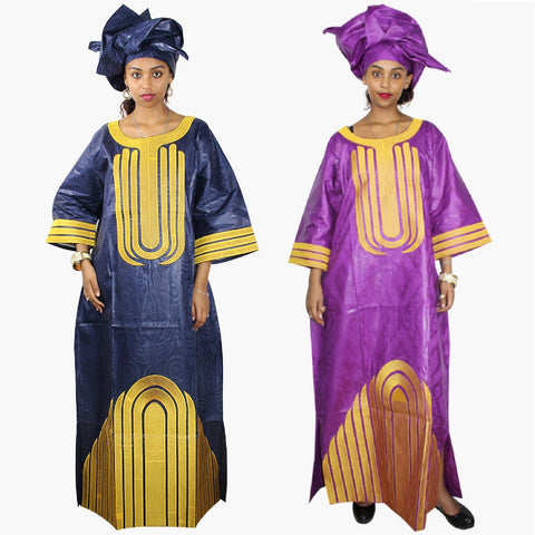 African Traditional Design Bazin Riche Design Embroidery Long Dashiki X21209
