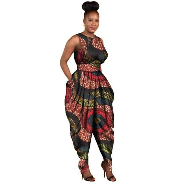 Maxi Size Women Jumpsuit Africa Cotton Wax Print Romper Bazin Riche Sexy Dashiki Elegant Clothing