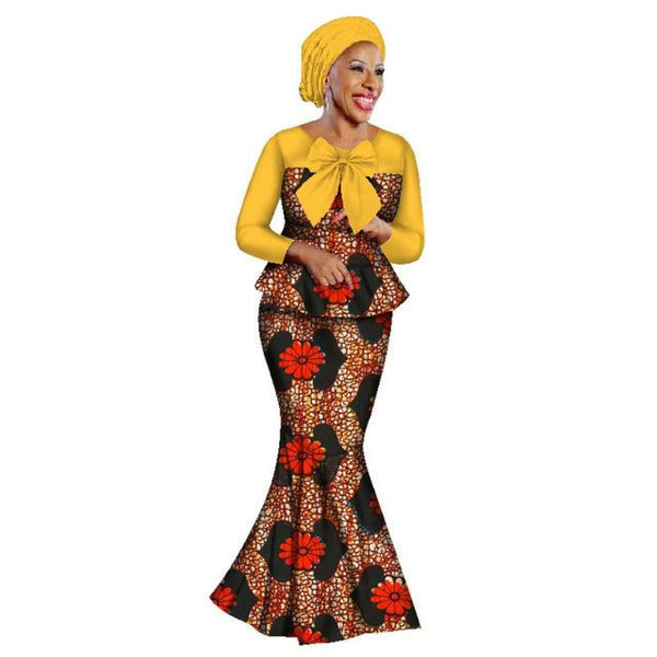 New African Skirt Sets For Women Lace Fabric Mix Print Wax Suit Top+Skirt+Headwrap Wedding Clothing