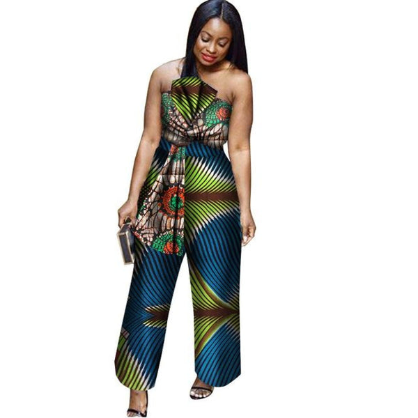 New Arriving Africa Cotton Wax Print Romper African Bazin Riche Sexy Jumpsuit For Women Dashiki