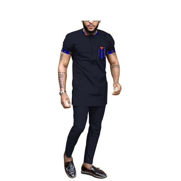 African Men Dashiki Short Sleeve 2-Piece Top-Pants Senator Style Y31836