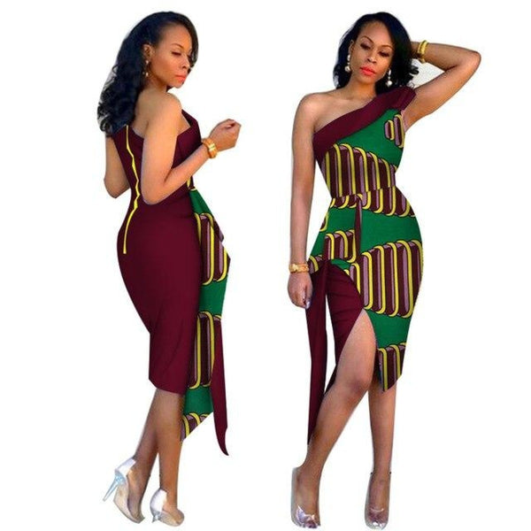 African Cotton Dashiki Wax Print Pattern Ankara Sexy Elegant Collar Dress for Women X12011