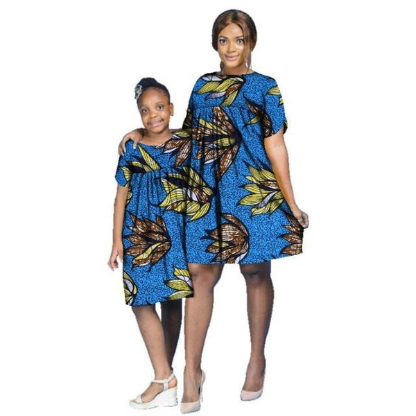African Cotton Dashiki Wax Print Pattern Ankara Bazin Knee-Length Dress for Women X11981