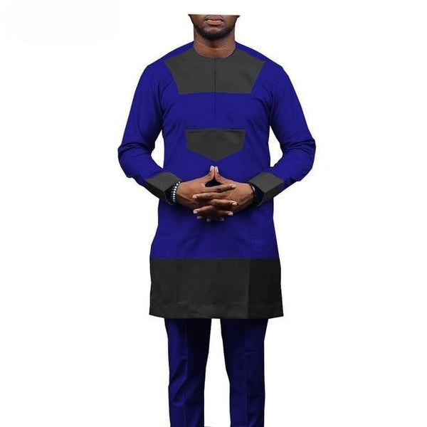 African Clothing Men Senator Style Long Sleeve 2-Piece Set Y31852