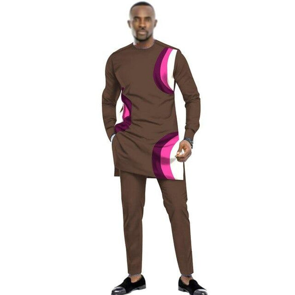 African Men Dashiki Long Sleeve 2-Piece Set Senator Style Y31833
