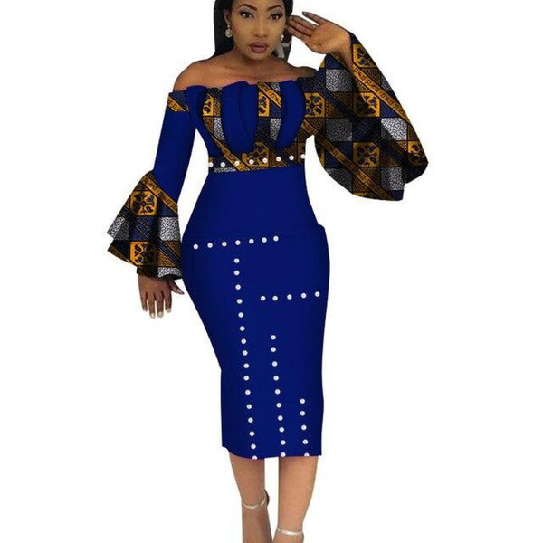 Dashiki Party Hot Vestidos For Women Cotton Print Mid-Calf African X11099