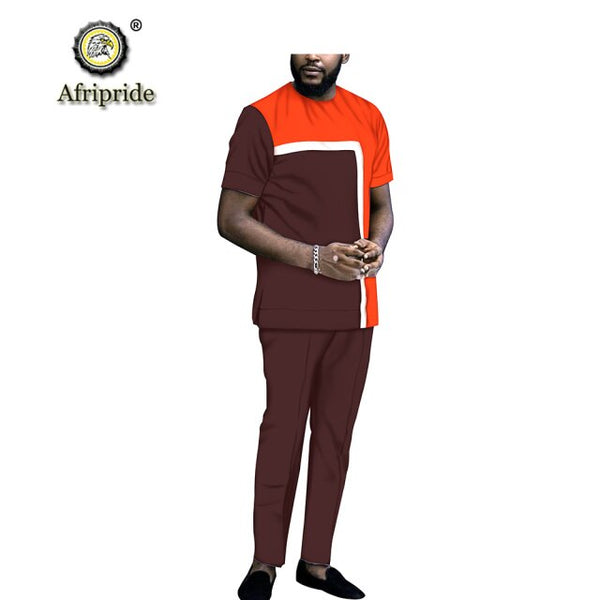 African Men Traditional Top-Pants short Sleeve Set 100% Cotton Y31813