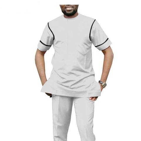 African Senator Style Short Sleeve Top and Pants Set for Men Y31851