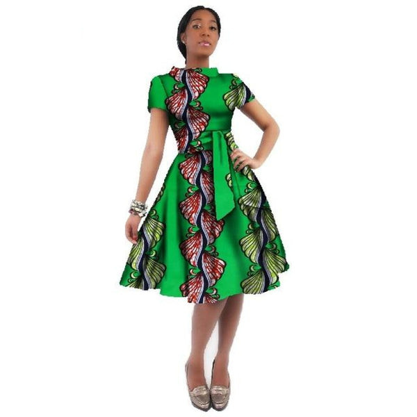 African Women Dashiki Cotton Wax Print Knee-Length Dress X11933